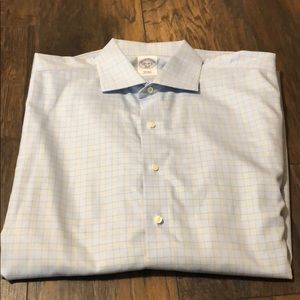 Brooks Bros blue plaid dress shirt